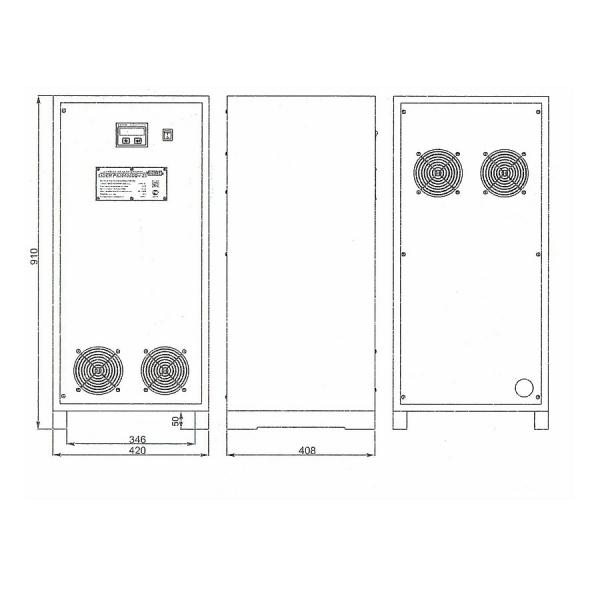 Однофазный стабилизатор Lider PS 30000SQ-I-25, габариты