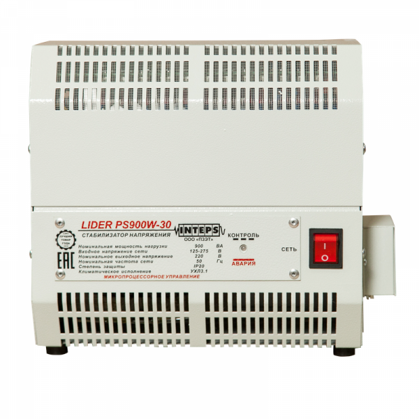 Однофазный стабилизатор Lider PS 1200W-30-K, вид спереди