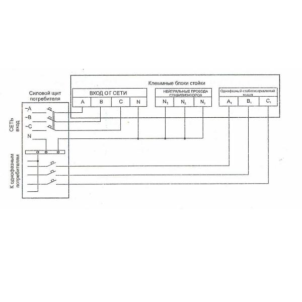 Схема подключения стойки с байпасом