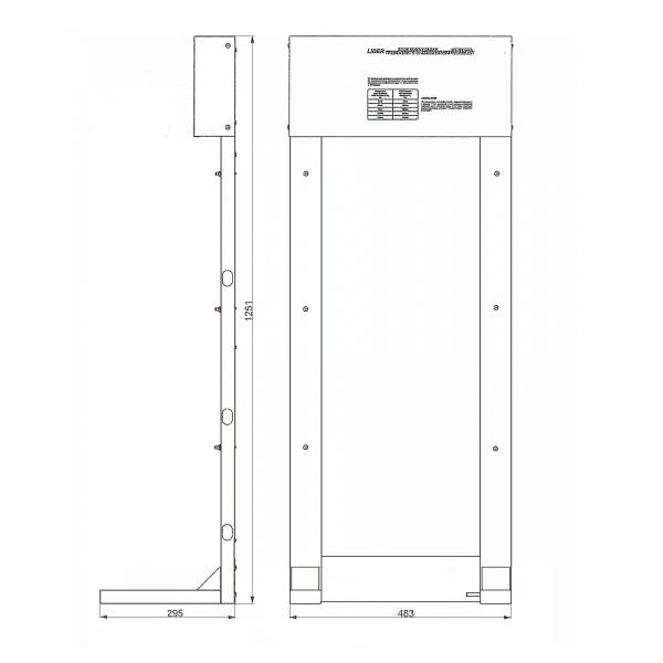 Стойка Lider 45SQ-PRO коммутационная (без КТВ), размеры