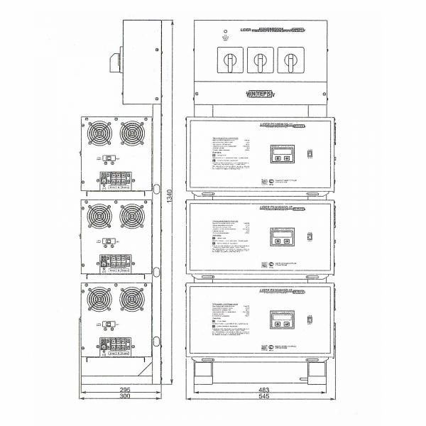 Стойка Lider 9-36 с контролем 3х фазного выхода и ручным пофазным байпасом (КТВ+БП), размеры со стабилизаторами