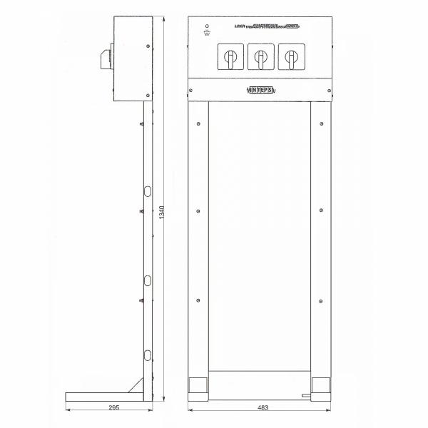 Стойка Lider 9-36 с контролем 3х фазного выхода и ручным пофазным байпасом (КТВ+БП), размеры